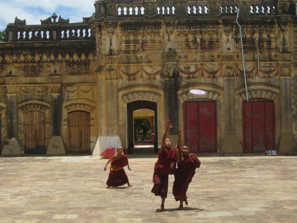 Teaching young monks how to play frisbee in Bagan, Myanmar.