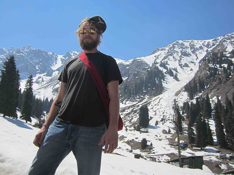 Myself hiking through the snowy mountains on a perfect warm sunny day.