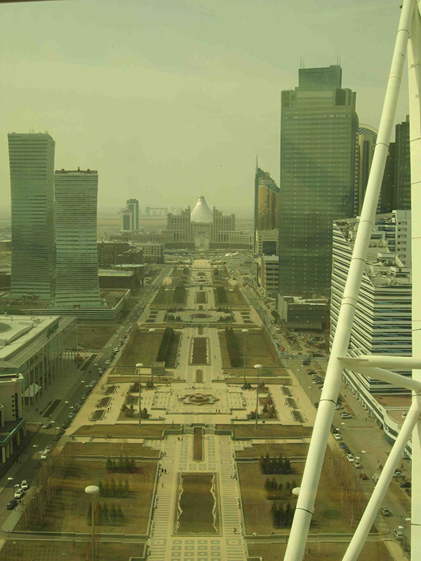 A view of Astana from within the golden globe of the Bayterek Monument.