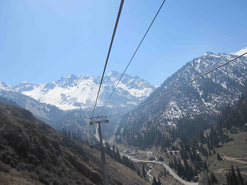 The cable car ride into the upper mountains.
