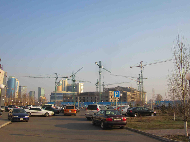 You'll see a forest of cranes everywhere in Astana.