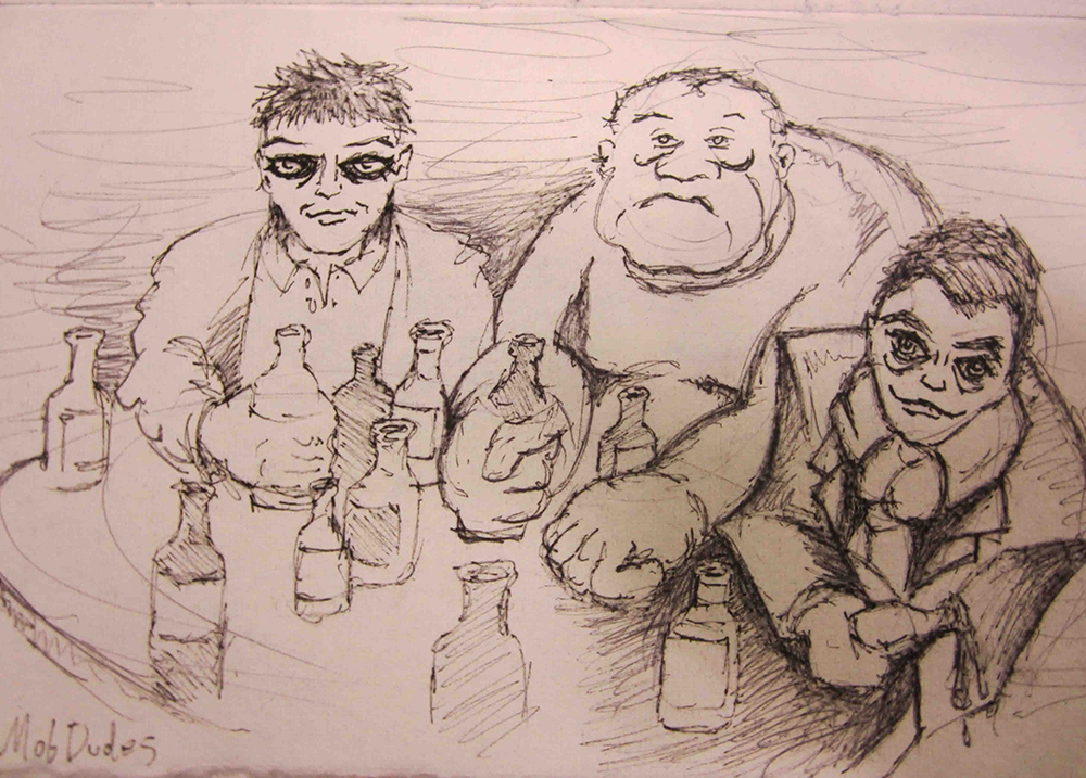 A sketch I drew of our Irkutsk Mob Friends at their finest.