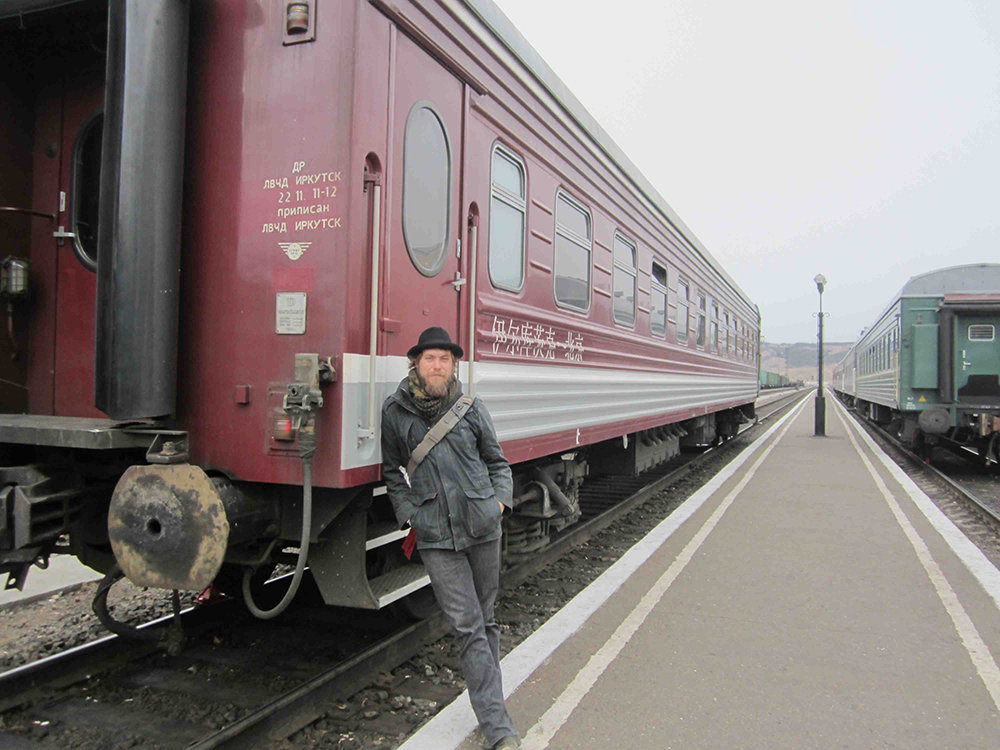 Taking a break from the train from Mongolia.