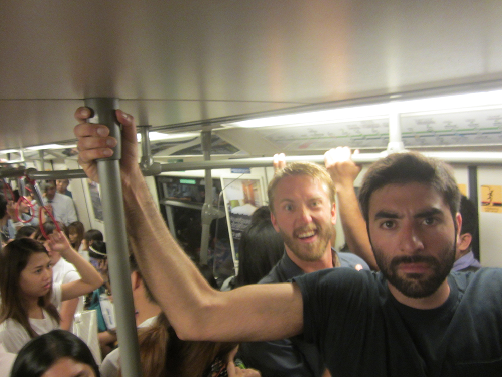 My gigantic buddies riding the Subway and trying not to sweat all over the locals.