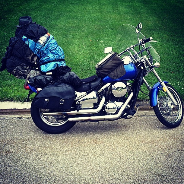 The bike all packed up for the long road west.