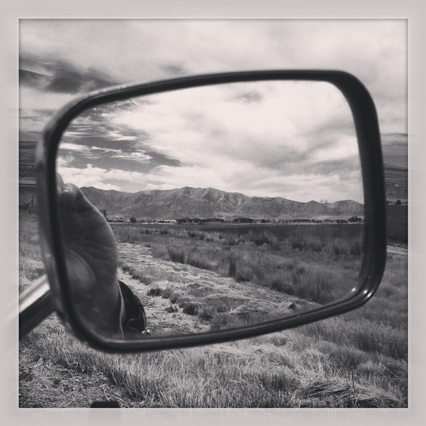 The Utah Rockies in my rearview.