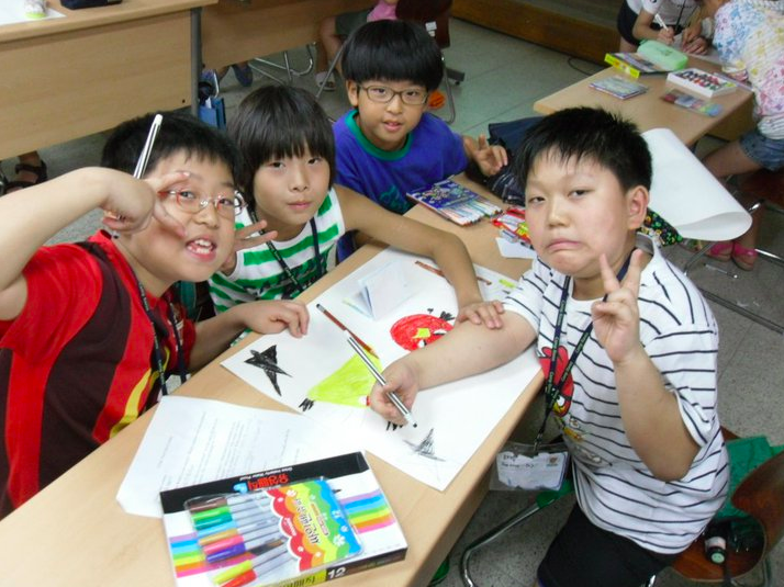 My Korean students getting crazy on some Angry Birds drawings.