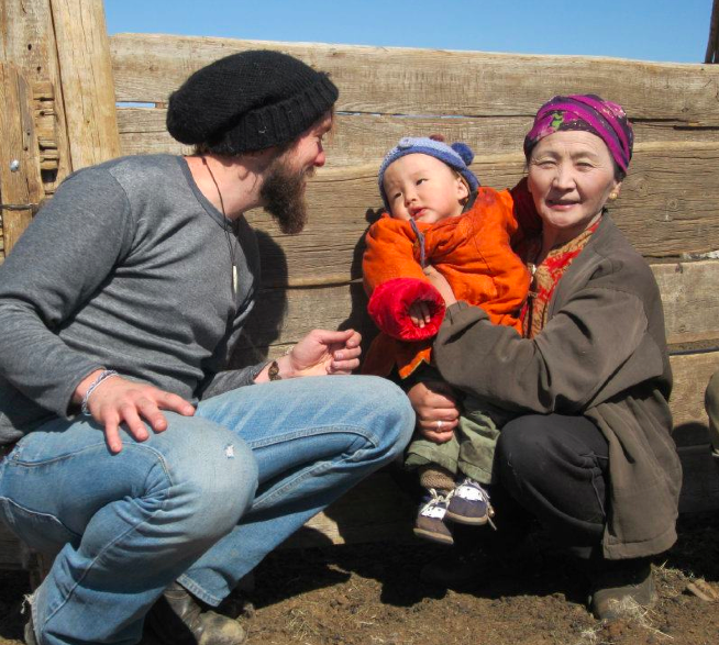 Hypnotizing babies in Mongolia with my beard.