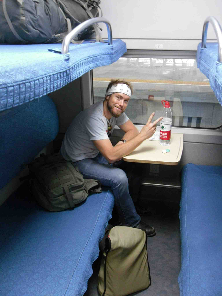 Me on one of my first train rides through China on the Bullet Train.