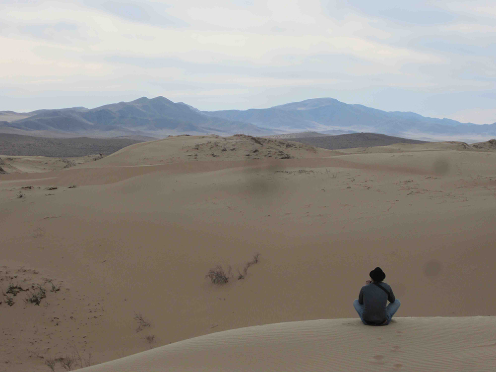 Hanging out on some awesome sand dunes my guide took us to.