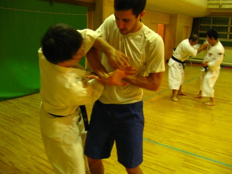 Ian practicing Shorinji Kempo techniques.